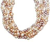 4-10 mm Multi-Strand Blush Freshwater Cultured Pearl Necklace in Sterling Silver