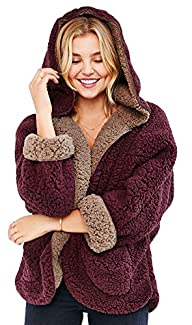 IDIFU Women's Sweet Faux Fur Lamb Hoo…