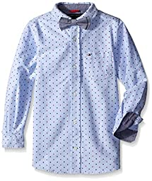 Tommy Hilfiger Boys\' Crazy Dot Shirt with Bow Tie, Oxford Blue, Large