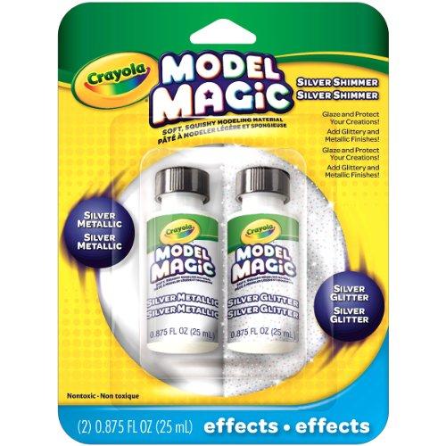 Crayola Model Magic Glitter and Silver Metallic Glaze, Double Pack