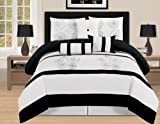 7 Pieces Luxury Embroidery Comforter Set Bed-in-a-bag (Oversize) Bedding (Black&White, Queen)