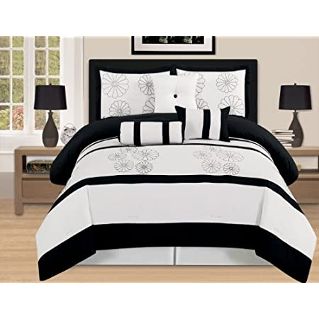 Beautifully embroidered Comforter set. Elegant design, choose from brown and aqua blue or Black&White. This Comforter set will make your room/bed look neat and clean. 7 piece set will make your bed look complete. buy with confidence. Note: We also Ca...