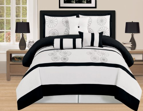 7 Pieces Luxury Embroidery Comforter Set Bed-In-A-Bag (Oversize) Bedding (Black&White, King)