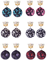 YouBella L'amore Collection Skull Design Jewellery Combo Of 6 Two Sided Earrings For Girls And Women