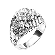 buy 925 Sterling Silver Masonic Men'S Ring Scottish Rite (Size 14.75)