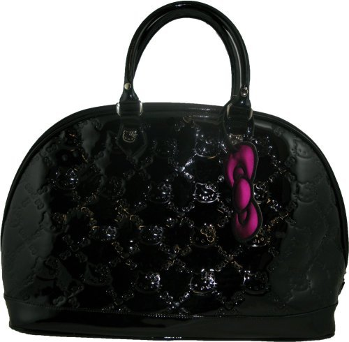 Hello Kitty Shiny Black PVC Tote Bag