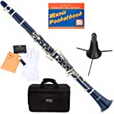 Mendini MCT-BL+SD+PB Blue ABS B Flat Clarinet with Case, Stand, Pocketbook, Mouthpiece, 10 Reeds and More