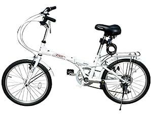 SHINE WOODⅠ20インチシマノ6段変速 折りたたみ自転車 前後フェンダー (ホワイト)