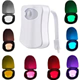 MAIKEHIGH Motion Detection Sensor Automatic Toliet LED Nightlight, Toilet Bowl Lid Bathroom Seat Hanging Battery- Operated Nightlight Lamp 8 Colors Changing.(2 Pack)
