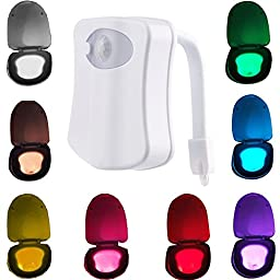 MAIKEHIGH Motion Detection Sensor Automatic Toliet LED Nightlight, Toilet Bowl Lid Bathroom Seat Hanging Battery- Operated Nightlight Lamp 8 Colors Changing.(1 Pack)