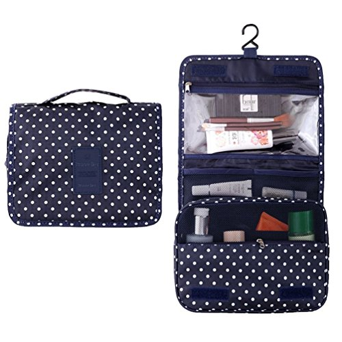 Itraveller® Portable Hanging Toiletry Bag/ Portable Travel Organizer Cosmetic Bag for Women Makeup or Men Shaving Kit with Hanging Hook for vacation (Navy Circle)