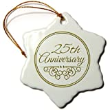 3dRose orn_154467_1 25th Anniversary Gift Gold Text for Celebrating Wedding Anniversaries Snowflake Porcelain Ornament, 3-Inch