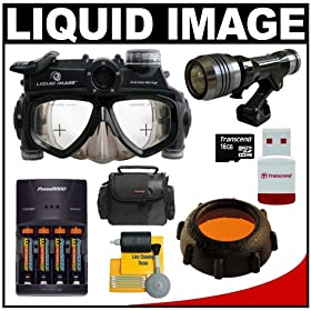 Liquid Image Wide Scuba Series Mid-Size Underwater High Definition Digital Camera Mask HD with 16GB Card + Batteries & Charger + Filter + LED Torch + Accessory Kit