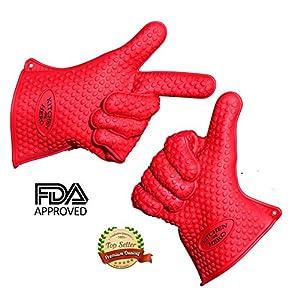 Best Pot Holder Oven Mitt Alternative - Kitchen Hero Red Silicone Cooking Gloves