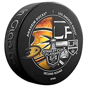 2014 NHL Stanley Cup Playoffs Second Round Anaheim Ducks vs. Los Angeles Kings Souvenir Dueling Hockey Puck