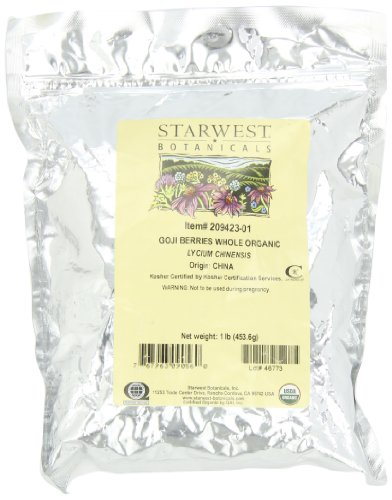 Starwest Botanicals Organic Goji Berries (Lycii Berries), 1-Pound Bag