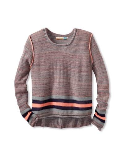 Vintage Havana Girl's Hilo Neon Stripe Long Sleeve Sweater  - Nornage/Navy
