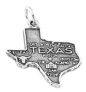 Sterling Silver State of Texas Map Charm
