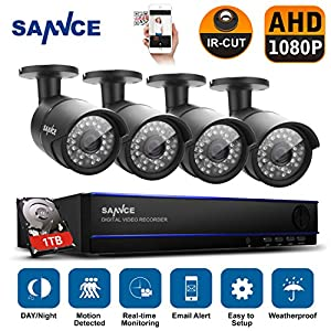 [New 1080P] SANNCE AHD 4CH 1080P Video DVR Recorder 1TB Hard Drive Home Security System with 4HD 19201080 Outdoor Security Cameras, IP66 Weatherproof Metal Housing