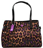 Coach Ocelot Print Crystall Carryall Shoulder Bag Purse F25281, Leopard Violet