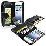 eForCity Leather Case with Wallet Compatible with Apple and reg; iPhone and reg; 5, Black