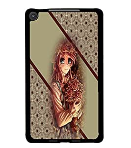 PrintDhaba Cute Girl D-2707 Back Case Cover for ASUS GOOGLE NEXUS 7 2013 (Multi-Coloured)