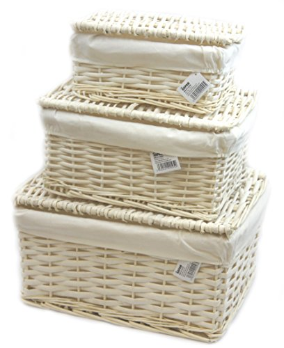 Arpan - Set di 3 ceste con coperchio in vimini, con fodera bianca, multiuso
