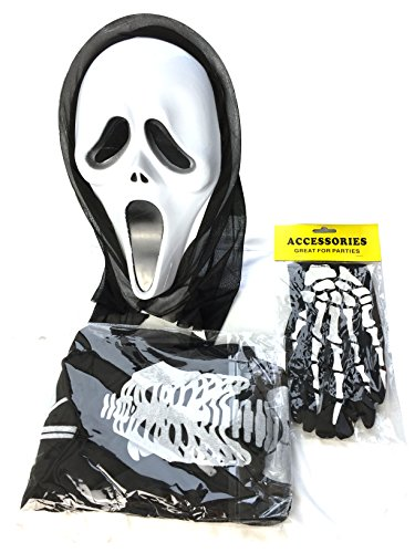 L&F Halloween Wizard Hooded Party Cape Kit for Adults and Kids(Cape,Mask,Gloves) (adults) (Scream Halloween Store)