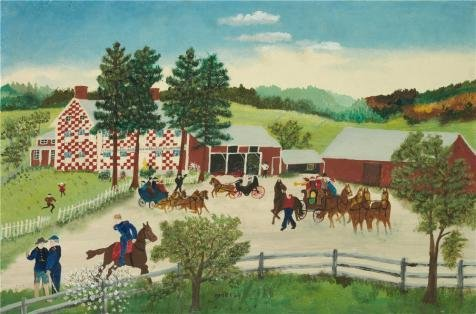 Oil Painting 'Grandma Moses,The Old Checkered House,1945-1946', 16 x 24 inch / 41 x 62 cm , on High Definition HD canvas prints is for Gifts And Bar, Home Theater And Kitchen Decoration (Ohio Table Pad Company compare prices)
