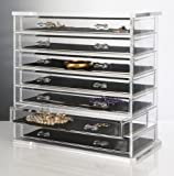 Deluxe 7-drawer Acrylic Jewelry Chest or Cosmetic Organizer with Removable Drawers and Liners