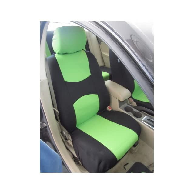 FH Group Universal Fit Full Set Flat Cloth Fabric Car Seat Cover, (Green/Black) (FH FB050114, Fit Most Car, Truck, Suv, or Van)