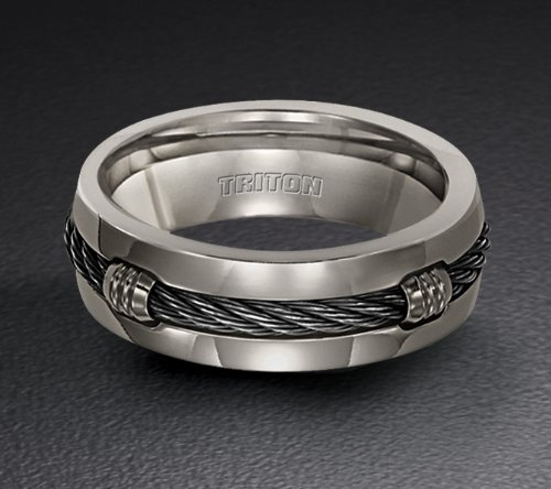 Triton Titanium Wedding Ring with Nitinol Cable Inlay 11-2062T