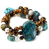 3-Row Turquoise, Tiger Eye and White Freshwater Cultured Pearl Stretch Bracelet (Jewelry) By Amazon Curated Collection