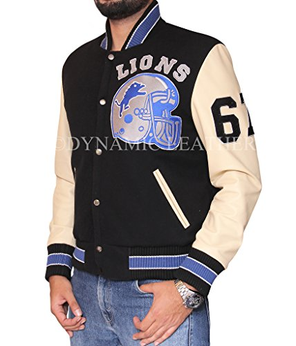 Beverly Hills Cop Axel Foley Detroit Lions Letterman, giacca sportiva, stile Vintage nero Medium