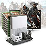 TNTi™ Power Tower - Xbox One S Vertical Stand, Intercooler with Controller Charging Dock and 18 XB1 Game Blue-ray disc storage
