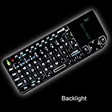 Rii RT-MWK01V3 2.4GHz Wireless Mini Keyboard & Mouse Combos with Touchpad With Built-in Backlit LED and Laser Pointer for PC, Pad, Andriod TV Box, Google TV Box, Xbox360, Raspberry PI, PS3 & HTPC/IPTV (Black)