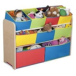 Toy Organizer Kids 9 Bins Organization 9 Drawers 3 Shelves Divided Storages Multi Bin Childrens Playroom Bedroom Super Size