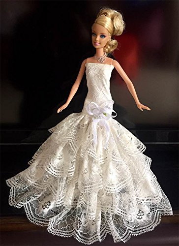 LittleKelly Beige Lace Romantic Strapless Ball Gown Wedding Dress Clothes Fit 11.5 Inch Barbie Doll (Fancy Dress Kilts)