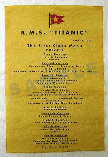 Teaching Materials Titanic Menu