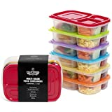 [6 Pack] Premium Eco Friendly 3-Compartment Bento Lunch Box Containers For Kids, Multi Color, Microwave, Dishwasher...