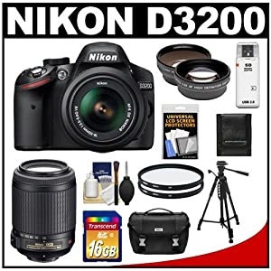Nikon D3200 Digital SLR Camera & 18-55mm G VR II DX AF-S Zoom Lens (Black) + 55-200mm VR Lens + 16GB Card + Case + Filters + Tripod + Telephoto & Wide-Angle Lens Kit