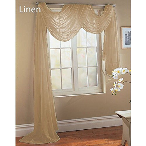 Gorgeous Home *DIFFERENT SOLID COLORS* AND ALSO *ANIMAL PRINT* 1PC SCARF VALANCE SOFT SHEER VOILE WINDOW TOPPER SWAG PANEL CURTAIN 216