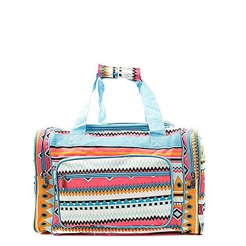 Handbag Inc Small Canvas Lightweight Aztec Print 17 Duffel Bag Aqua Blue
