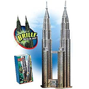Petronas Towers (Glow in the Dark), 912 Piece 3D Jigsaw Puzzle Made by Wrebbit Puzz-3D