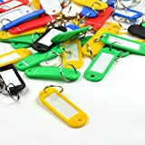 Bluecell Pack of 120 Assorted Color Coded Key Tag with Label Window Ring Holder (Soft plastic)
