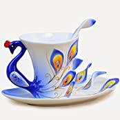 BonZeal Tea Set, Peacock Design Cup, (With Saucer And Spoon) 180ml Pack Of 1, Blue