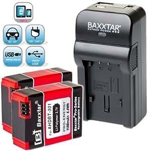 Baxxtar RAZER 600 chargeur 5 en 1 + 2x Baxxtar Batterie pour GoPro AHDBT-301 AHDBT-302 (1180mAh) -- NOUVEAU avec entrée micro USB. Sortie USB pour charger simultanément un troisième dispositif (GoPro, GoPro à distance, iPhone, tablette, smartphone, etc ..) - ajustements - GoPro Hero 3 Hero3 Hero3 + Black, White & Silver Edition