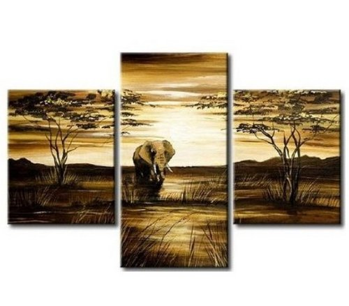 3 Pics African Grassland Elephant Abstract 100% Hand Painted Oil Painting on Canvas Wall Art Deco Home Decoration (Unstretch No Frame)
