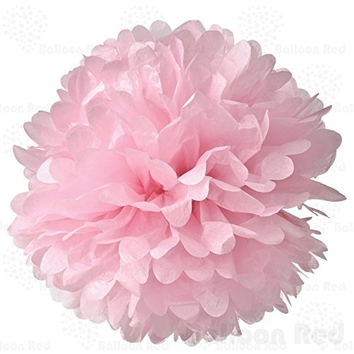 4 Inch Tissue Paper Flower Pom Poms, Pack of 5, Pink (Hot Air Balloon Paper Plates compare prices)