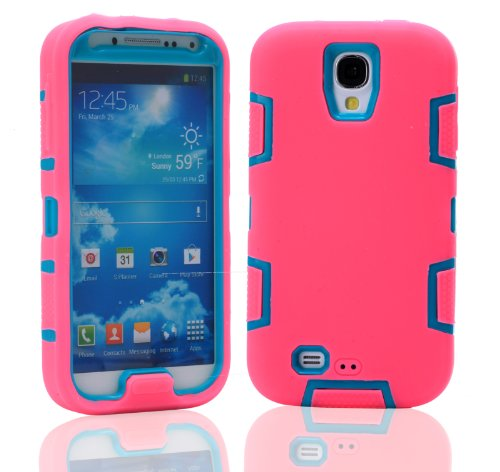 Magicsky Robot Series Hybrid Armored Case For Samsung Galaxy Iiii S4 I9500 - 1 Pack - Retail Packaging - Blue/Hot Pink
